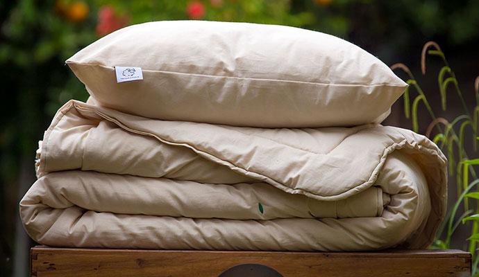oreiller et couette en laine
